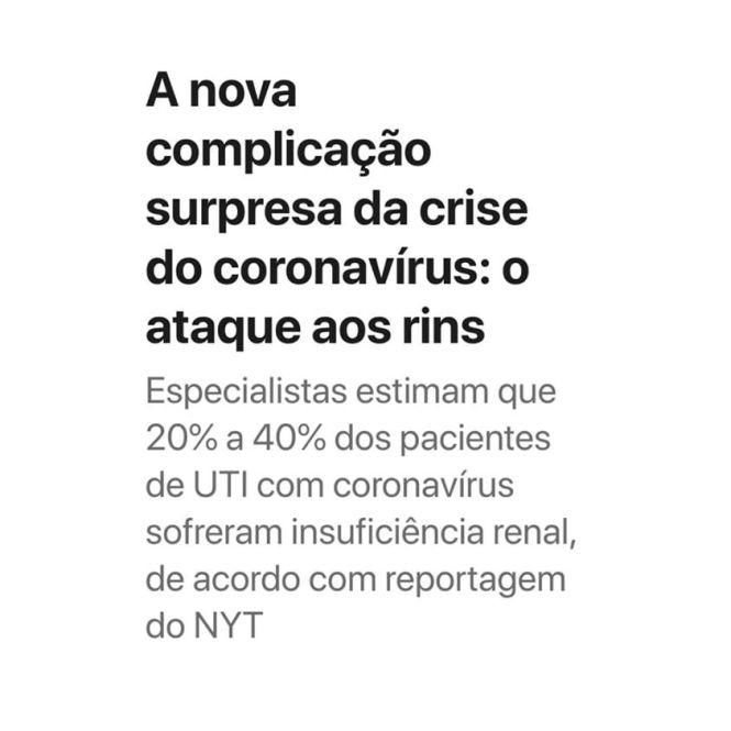 Novo coronavírus afeta os rins